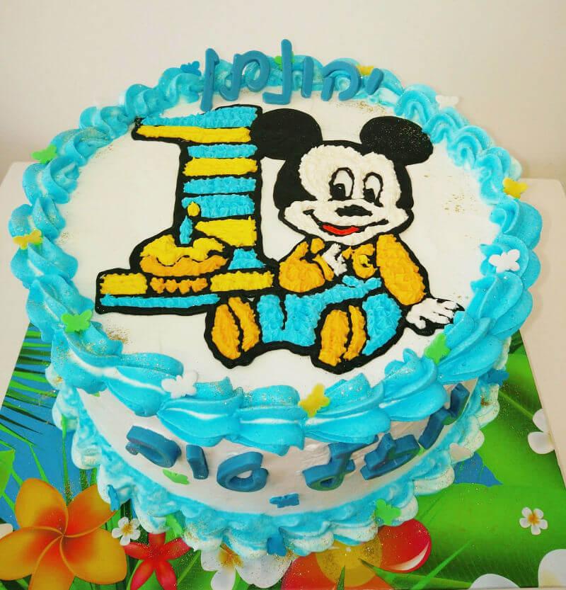 עוגת זילוף מיקי מאוס לגיל שנה