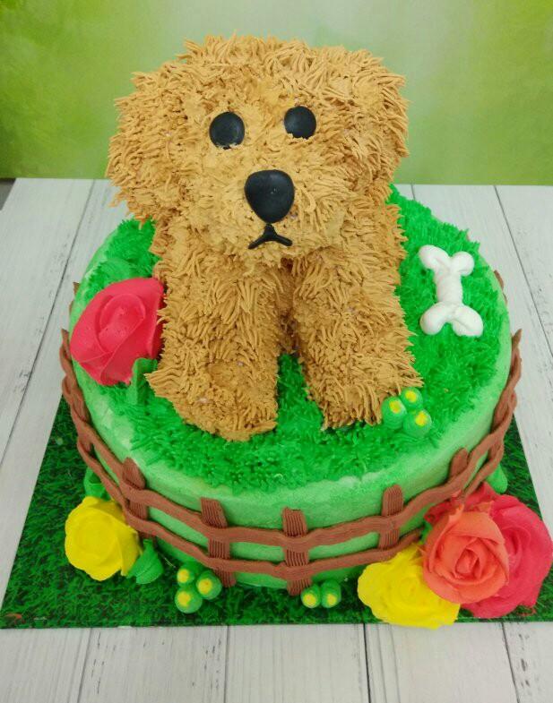 עוגת זילוף מפוסלת כלב