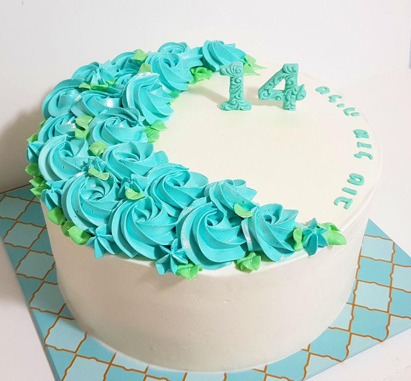 עוגת זילוף פרחים כשרה