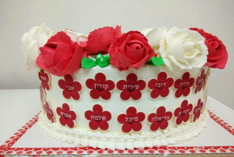 עוגת זילוף פרחים
