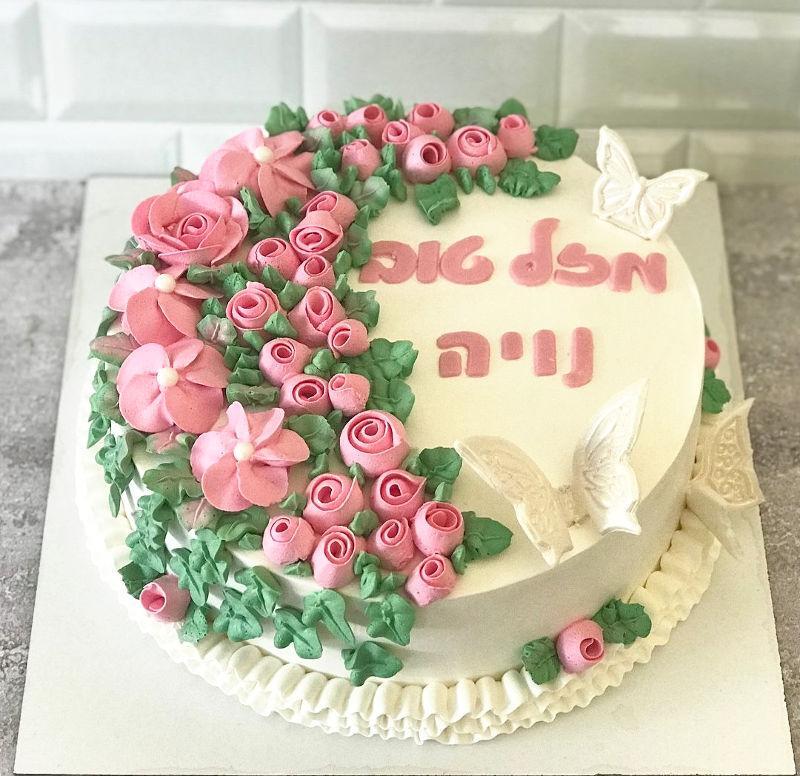 עוגת זילוף פרחים מעוצבת