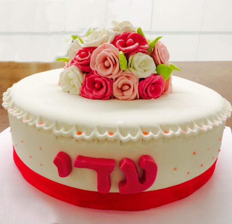 עוגת זר פרחים מבצק סוכר