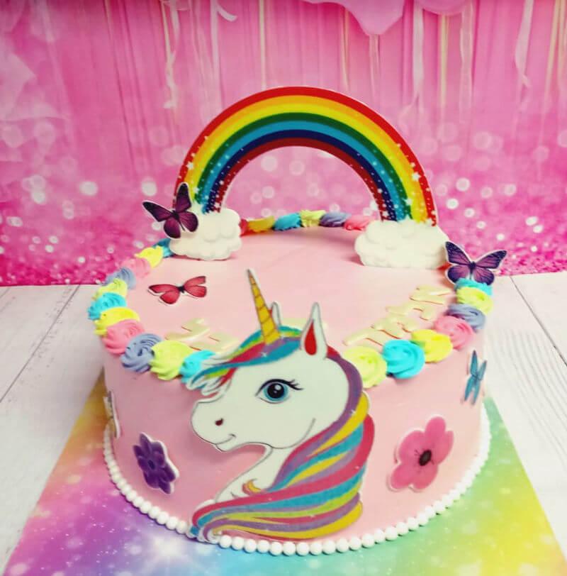 עוגת חד קרן וקשת בענן