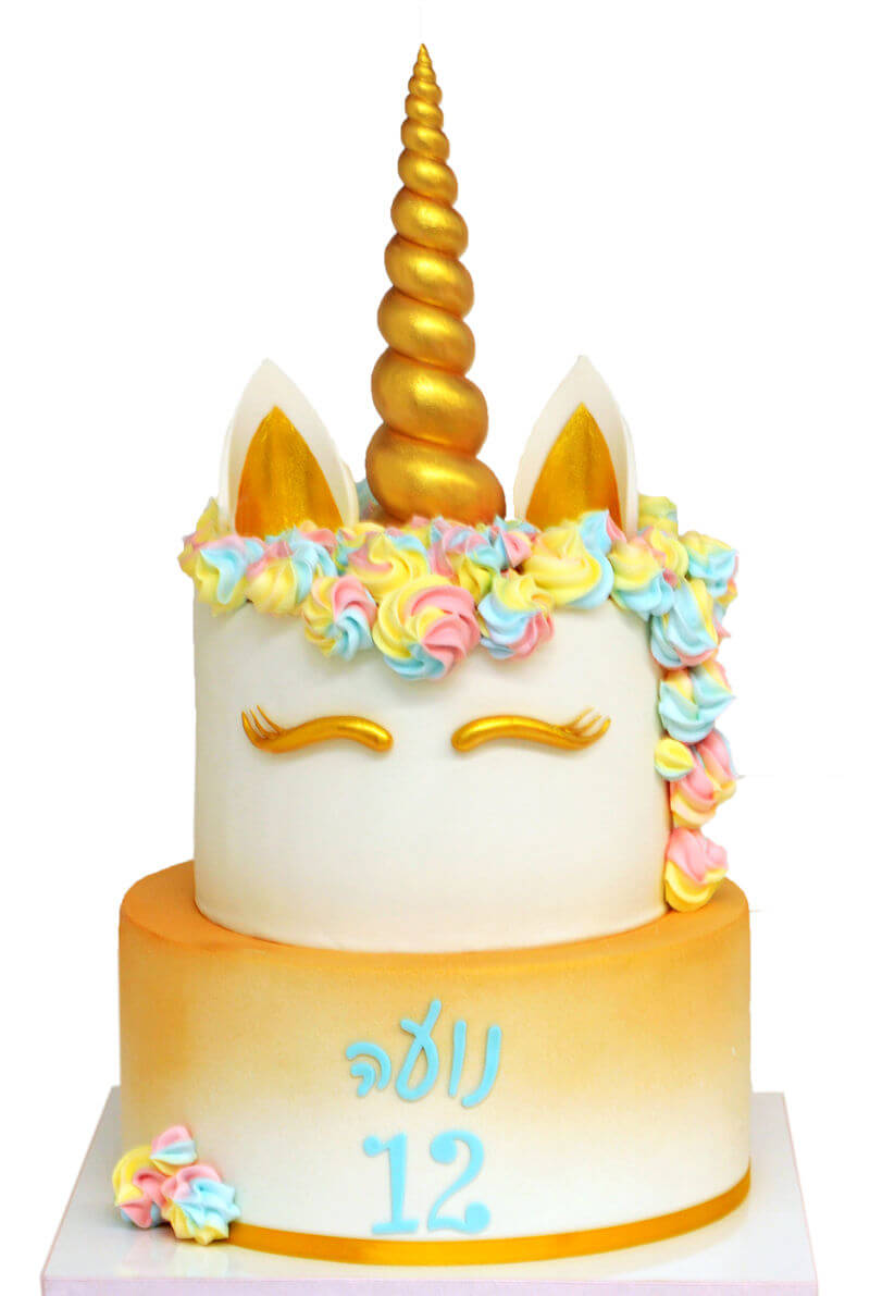 עוגת חד קרן שתי קומות לבת מצווה