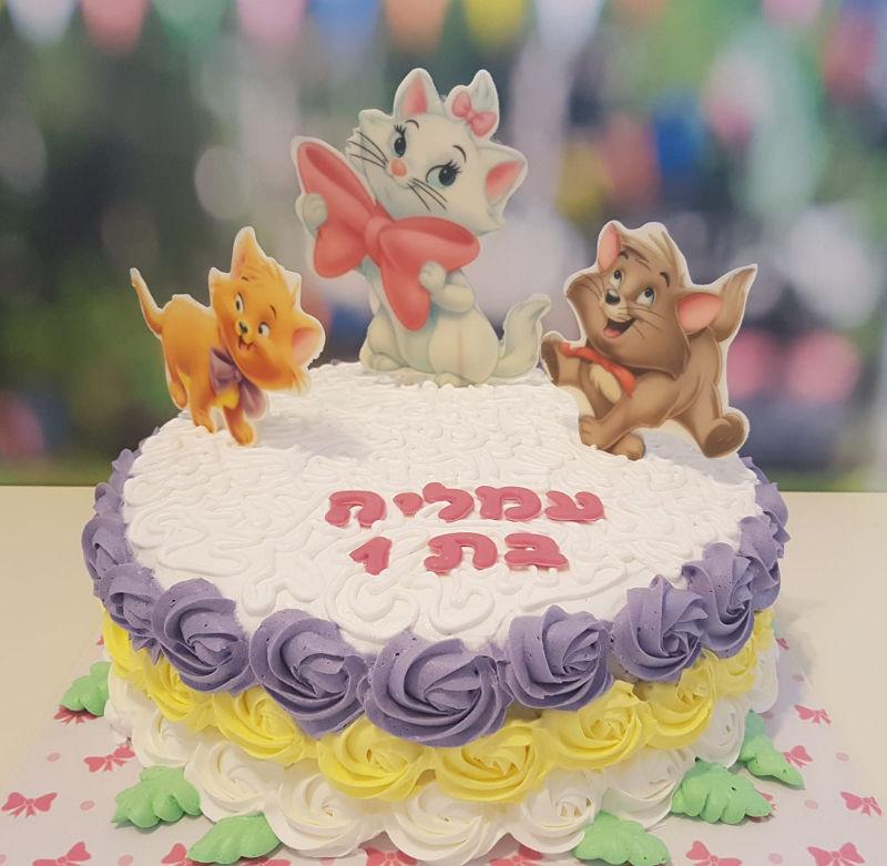 עוגת יום הולדת לבנות חתולים