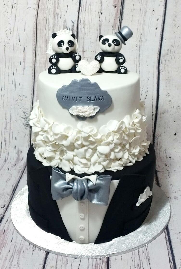 עוגת חתונה הומוריסטית מבצק סוכר
