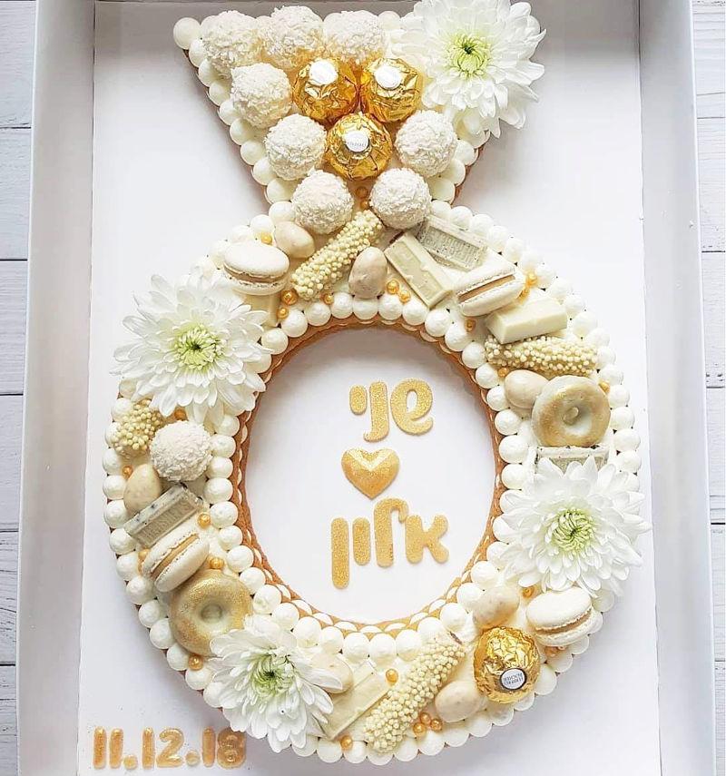 עוגה לחתונה בצורת טבעת
