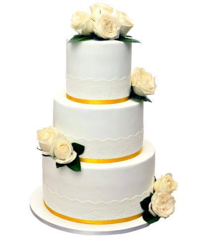 עוגת חתונה מעוצבת בלבן וזהב