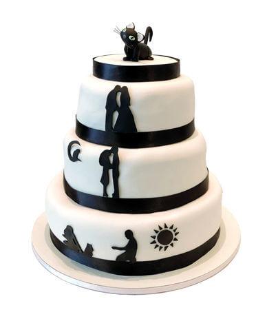 עוגת חתונה מעוצבת שלוש קומות