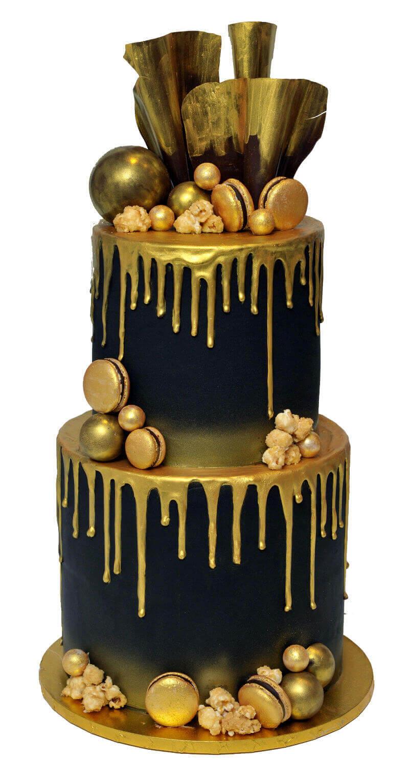 עוגת טפטופים וממתקים בזהב