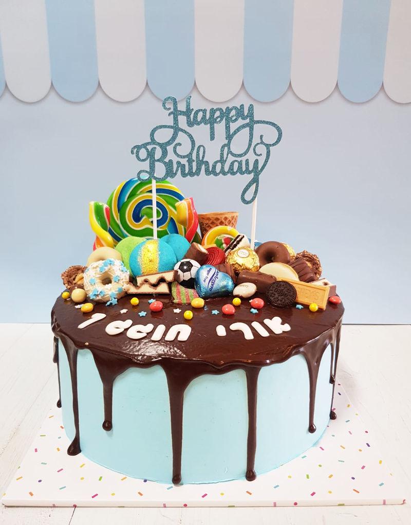 עוגת טפטופים וממתקים לבן
