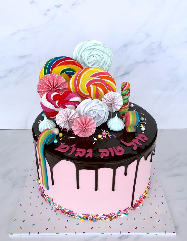 עוגת טפטופים וסוכריות