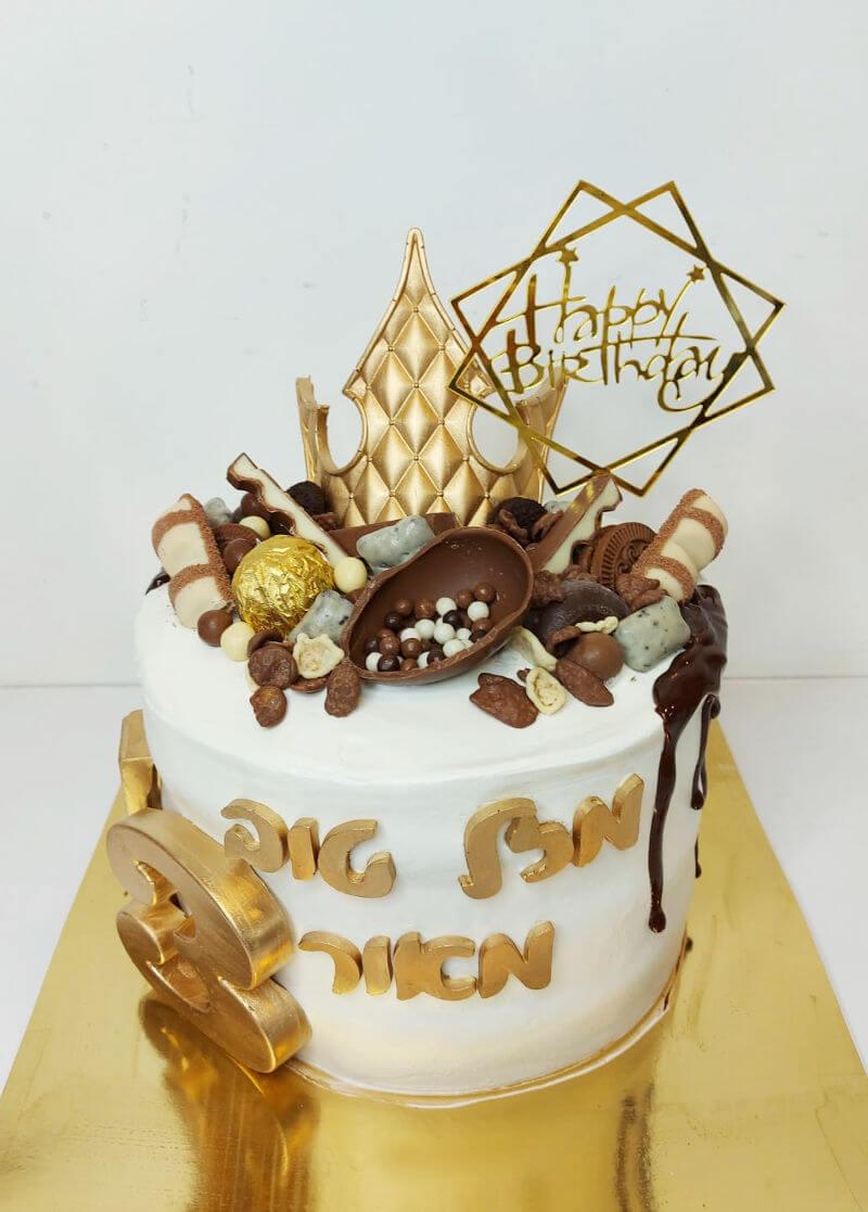 עוגת טפטופים ושוקולדים עם כתר