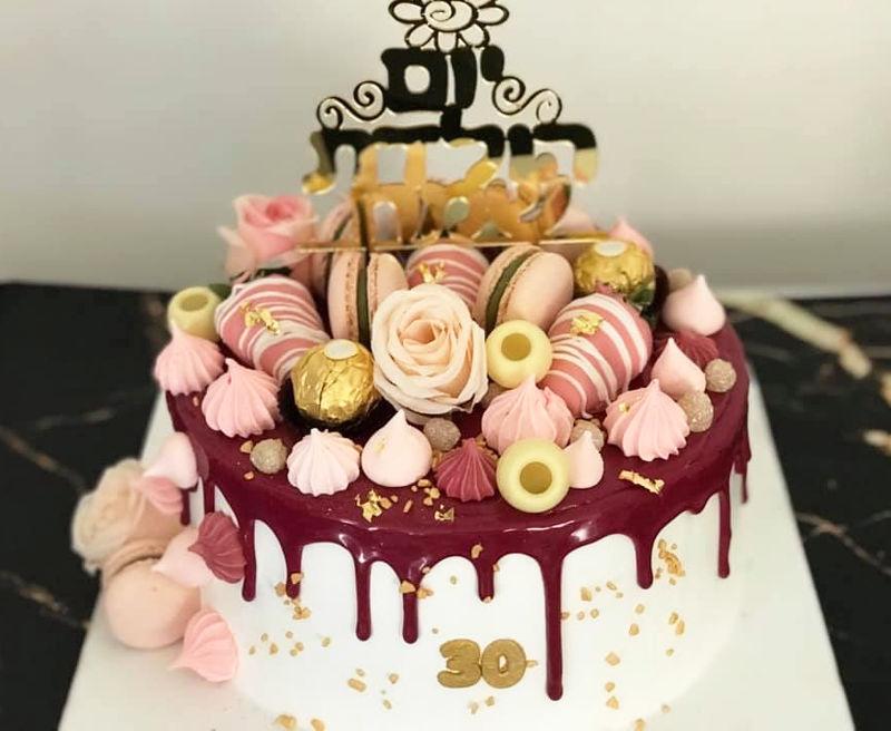 עוגת טפטופי גאנש וממתקים לגיל 30