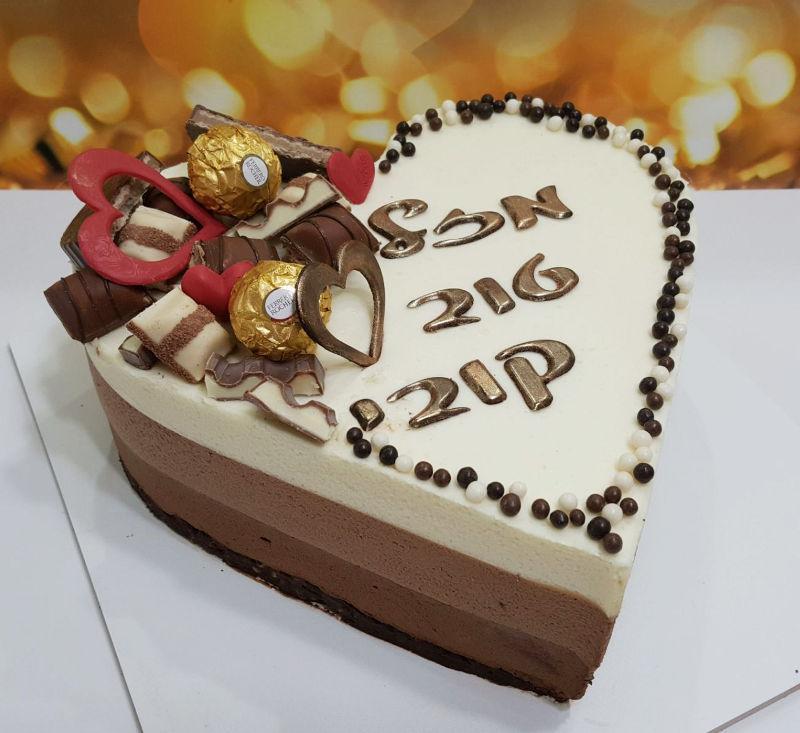 עוגת טריקולד בצורת לב