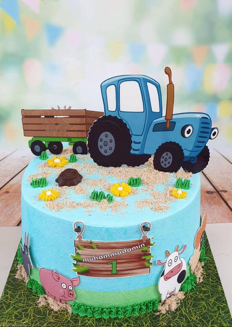 עוגת טרקטור וחיות ליום הולדת
