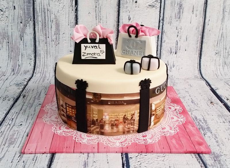 עוגת שופינג מעוצבת עם מותגים