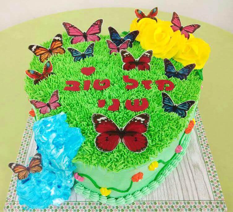 עוגת זילוף עם פרפרים