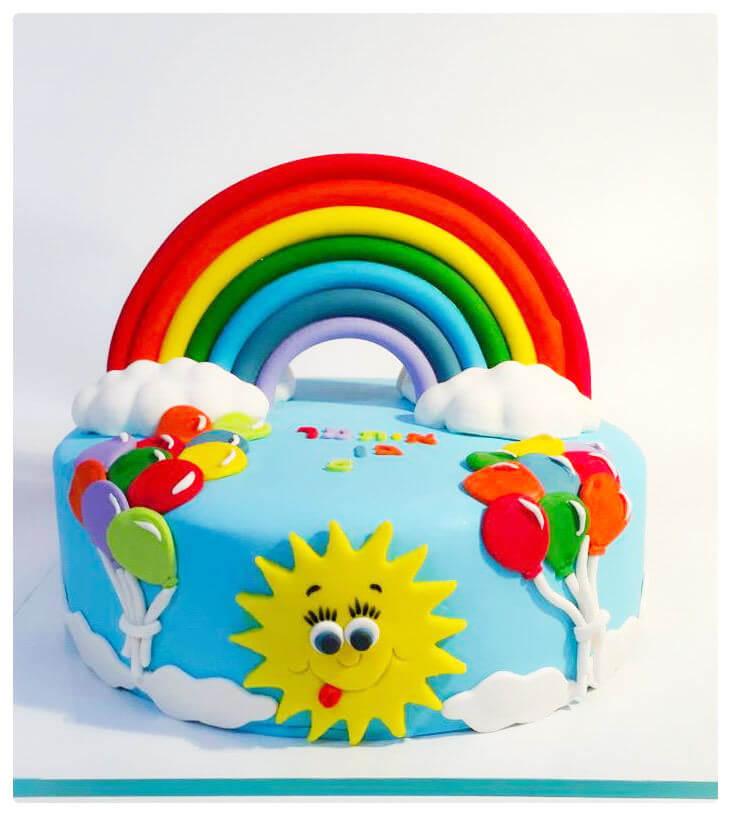 עוגת יום הולדת בלונים וקשת