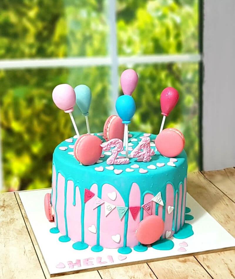 עוגת יום הולדת בלונים מבצק סוכר