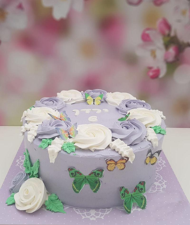 עוגת יום הולדת בנות זילוף פרפרים