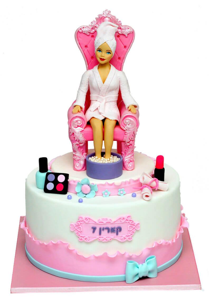 עוגת בצק סוכר ליום הולדת בנות ספא