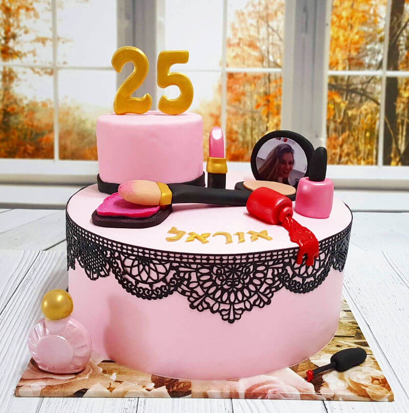 עוגת יום הולדת בנות מבצק סוכר