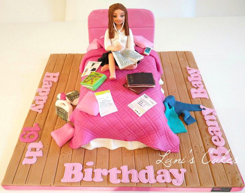 עוגת יום הולדת לנערה מבצק סוכר
