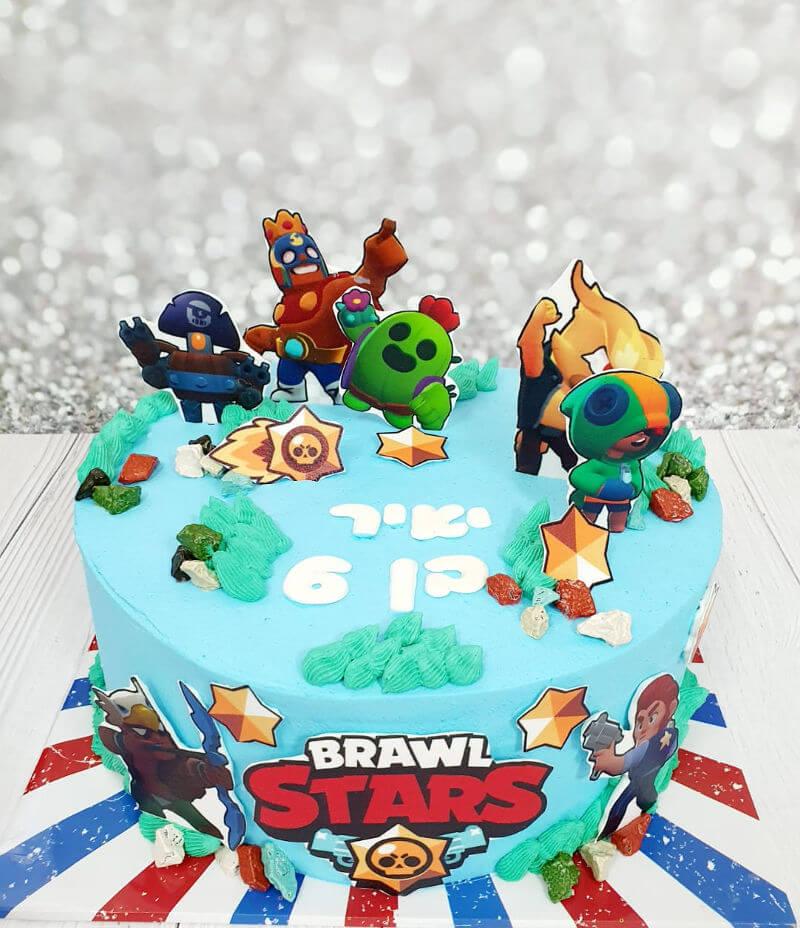 עוגת יום הולדת בעיצוב בראול סטארס