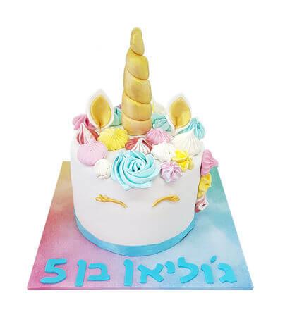 עוגת יום הולדת בעיצוב חד קרן