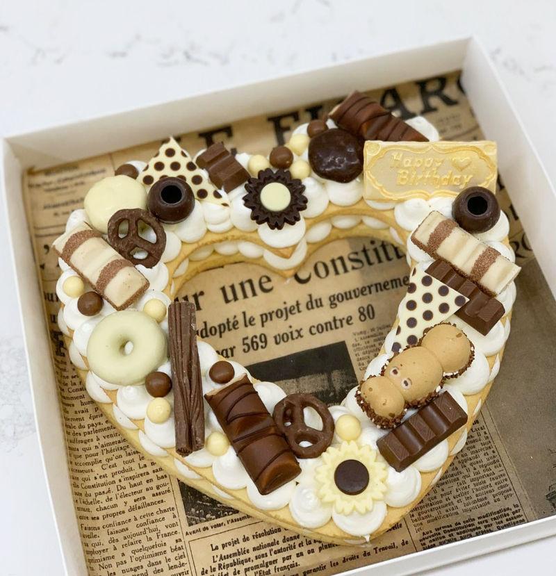 עוגת יוםהולדת בצורת לב