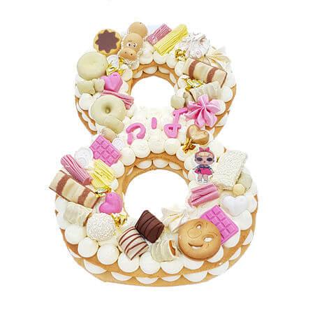 עוגת יום הולדת לול בצורת מספר LOL