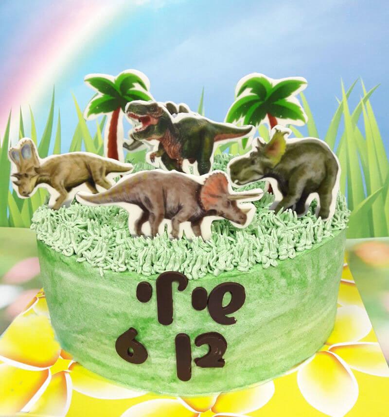 עוגת יום הולדת זילוף דינוזאורים