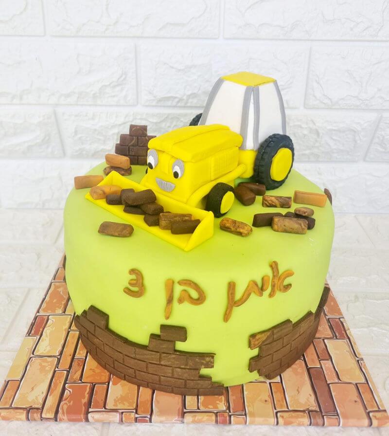 עוגת יום הולדת טרקטור מבצק סוכר