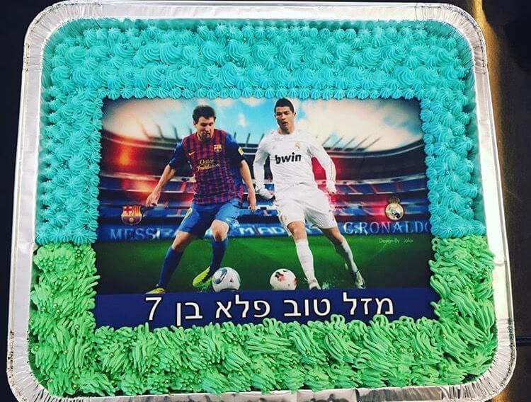 עוגת יום הולדת כדורגל מלבנית לגן
