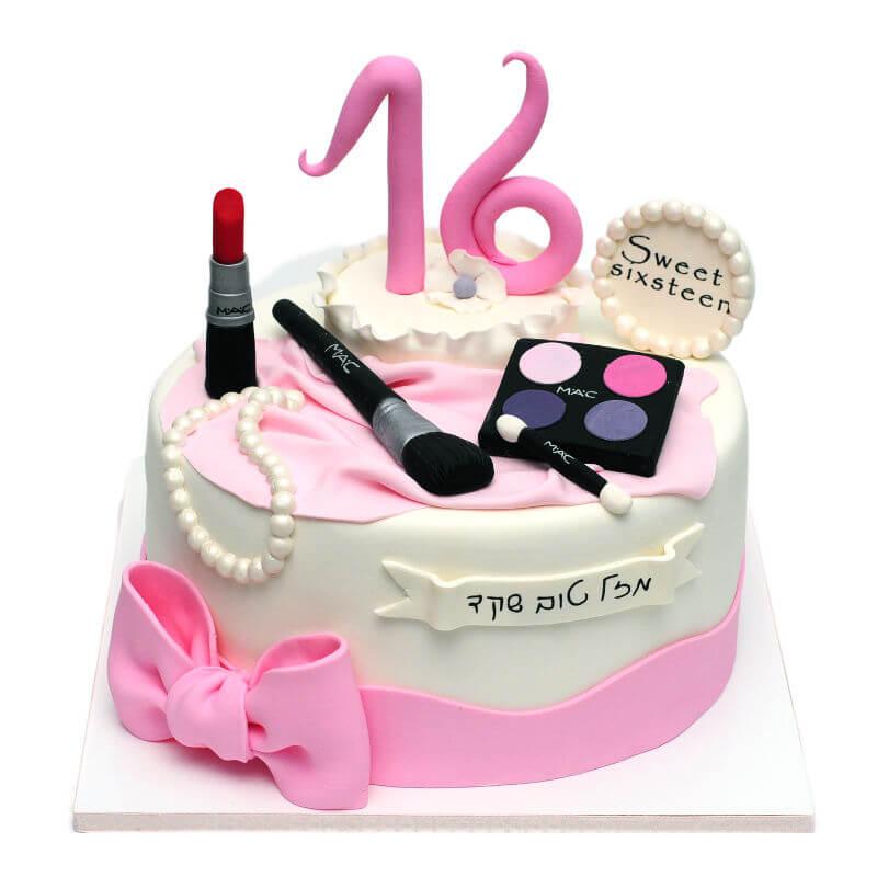 עוגת יום הולדת לבנות איפור