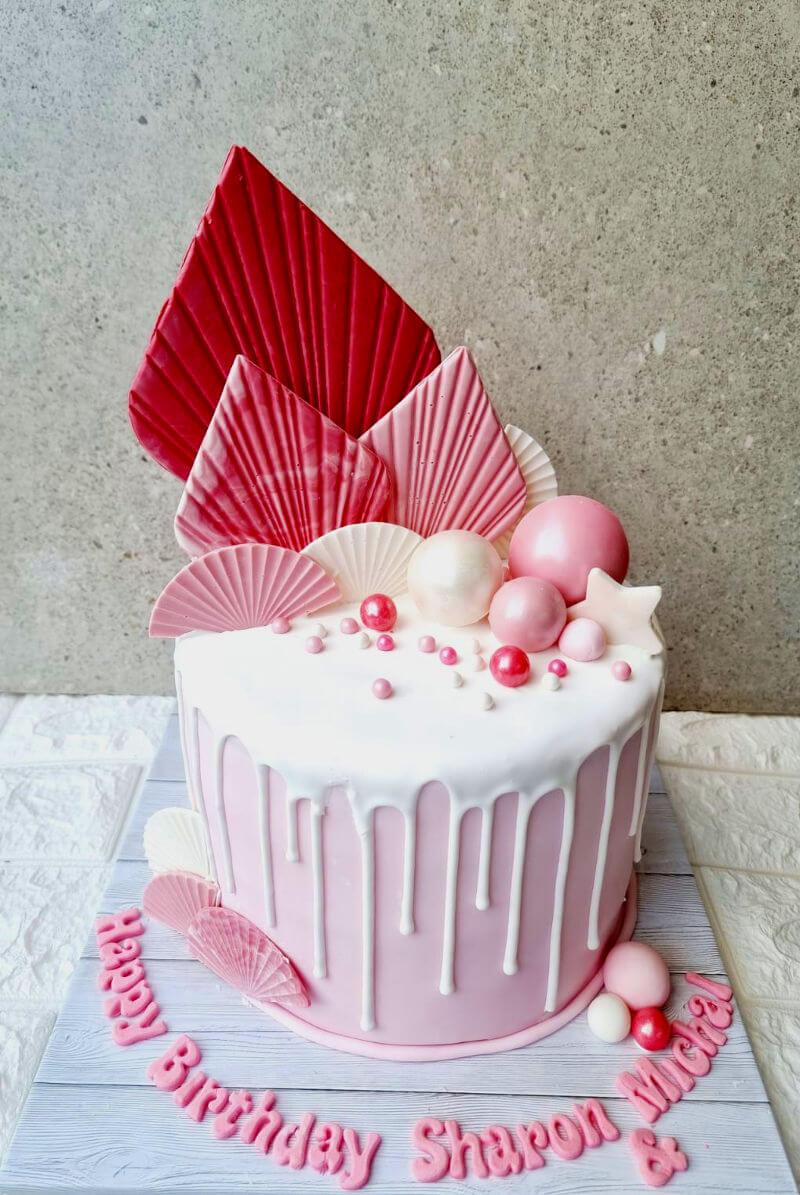 עוגת יום הולדת לבנות בעיצוב מניפות