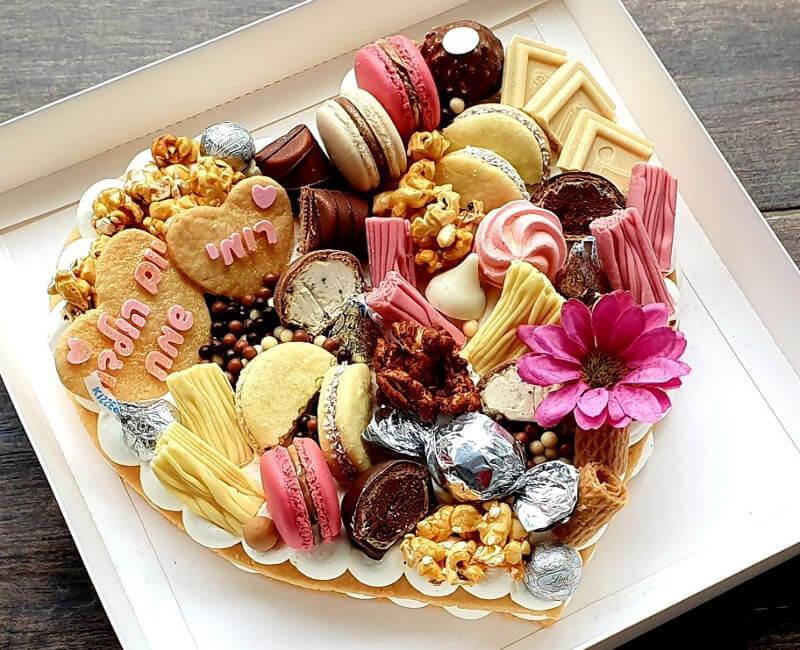 עוגת יום הולדת לבת בצורת לב