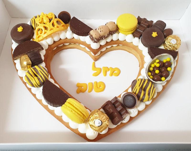 עוגת יום הולדת לב ושוקולדים