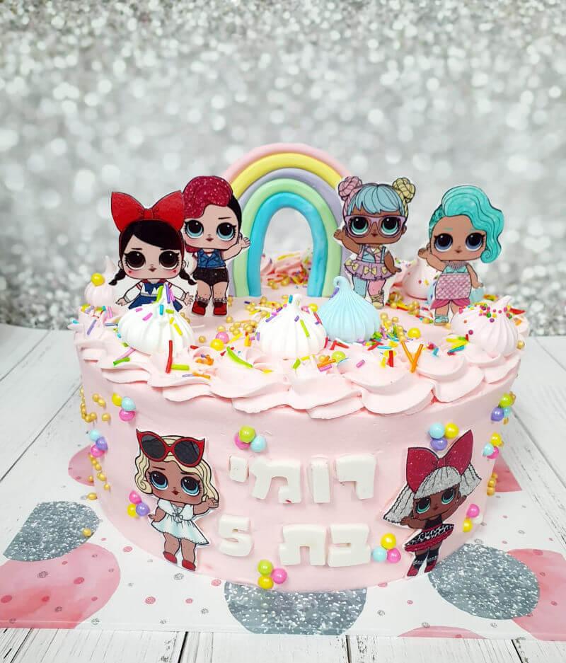 עוגת יום הולדת לול עם קשת בענן LOL