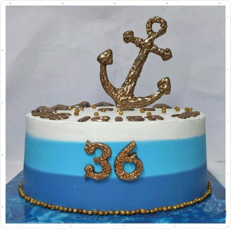 עוגת יום הולדת מבוגרים עם עוגן