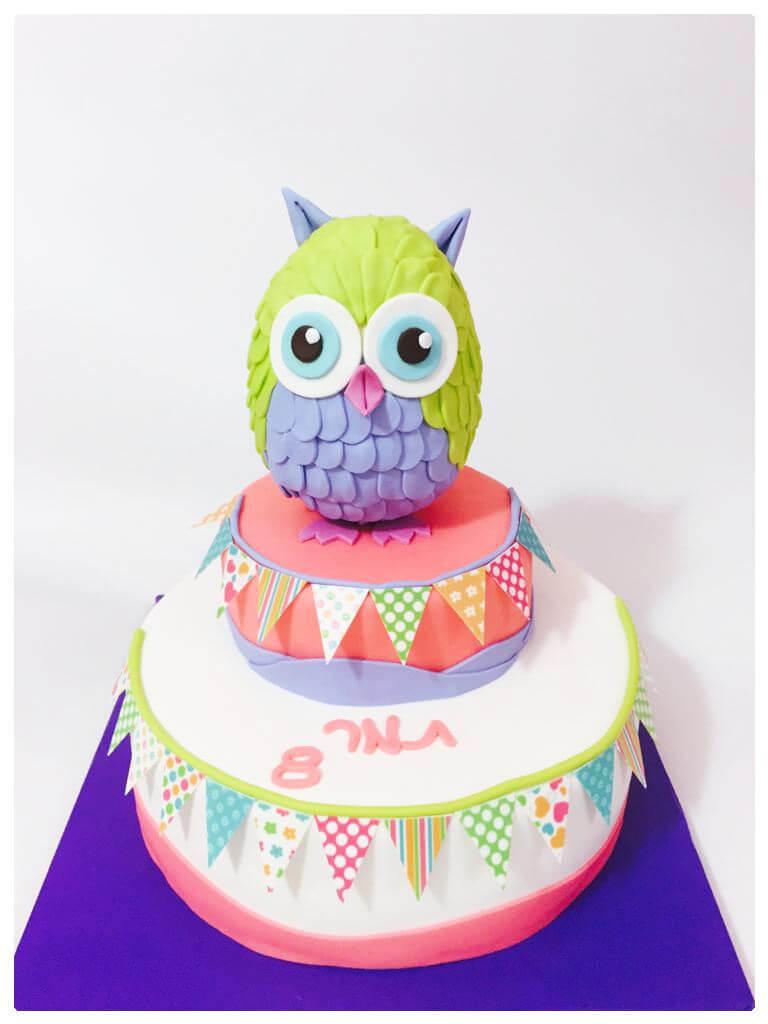 עוגת יום הולדת מהממת לבת מבצק סוכר של ינשוף