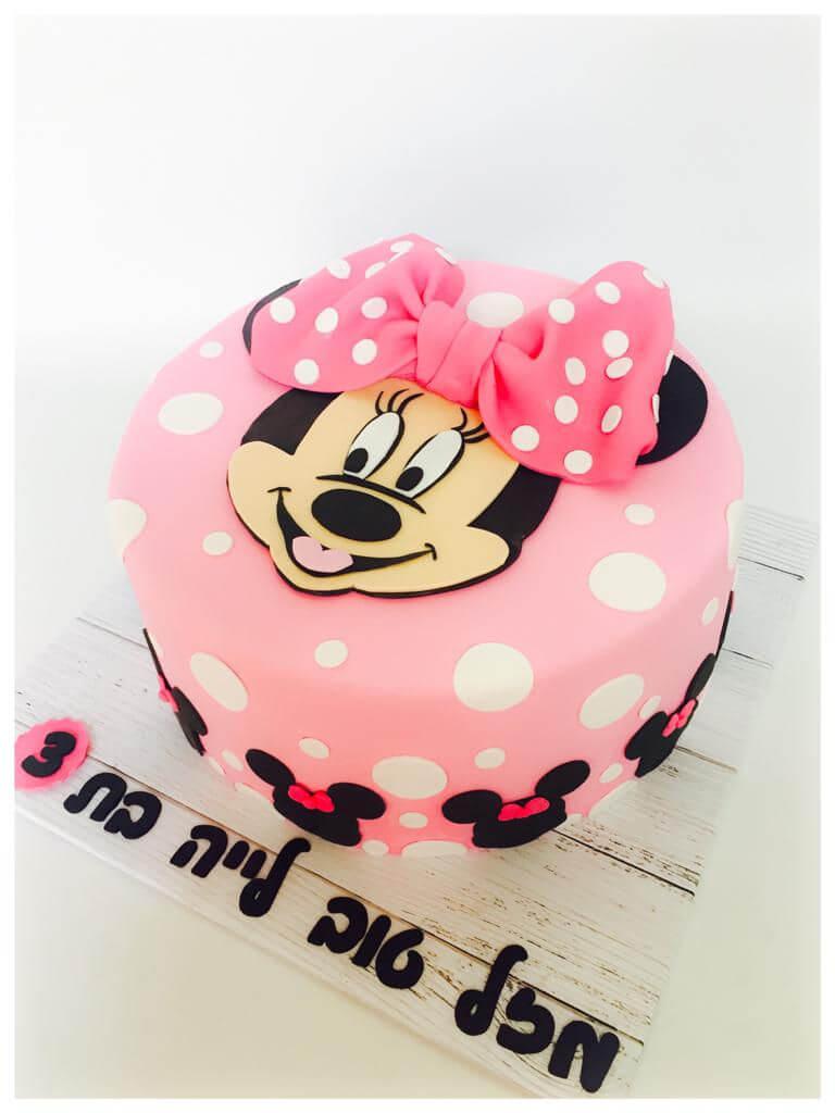 עוגת יום הולדת מיני מאוס מבצק סוכר