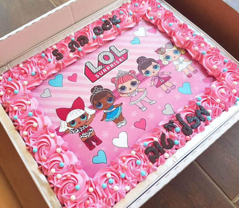 LOL עוגת יום הולדת מלבנית לגן
