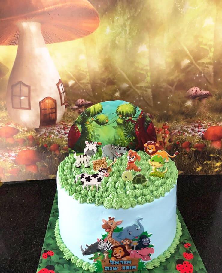 עוגת יום הולדת מעוצבת עם חיות