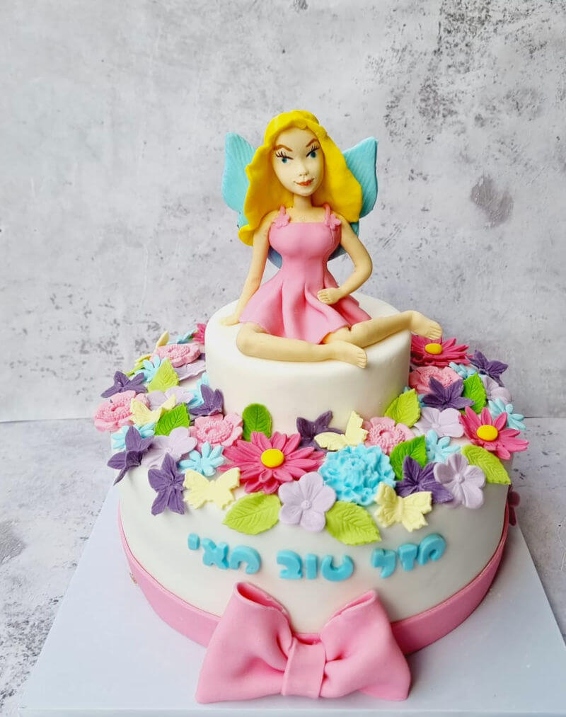 עוגת יום הולדת פייה ופרחים