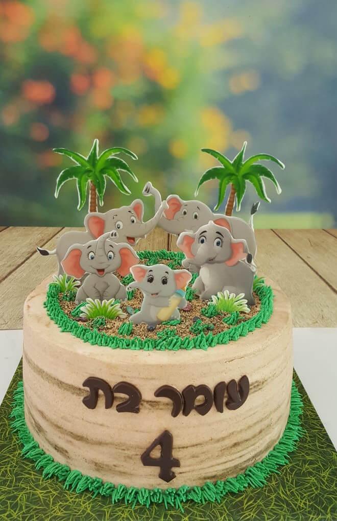 עוגת יום הולדת מעוצבת עם פילים