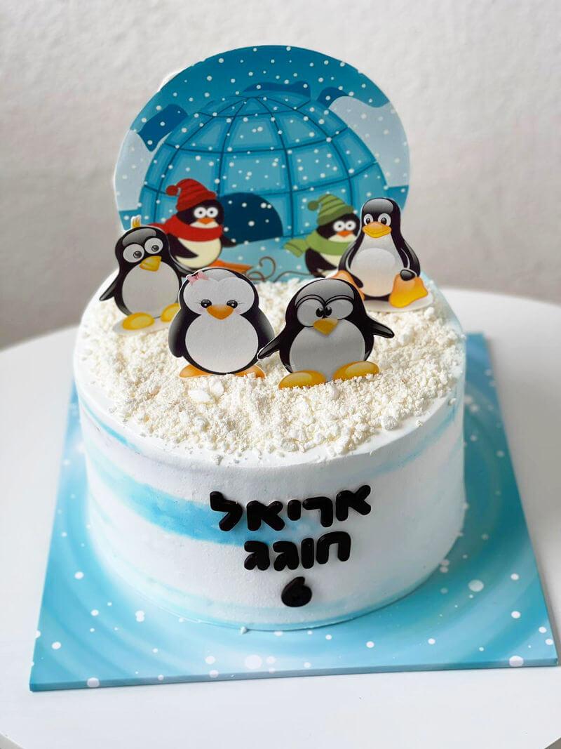 עוגת יום הולדת של חיות עם פינגווינים בקוטב