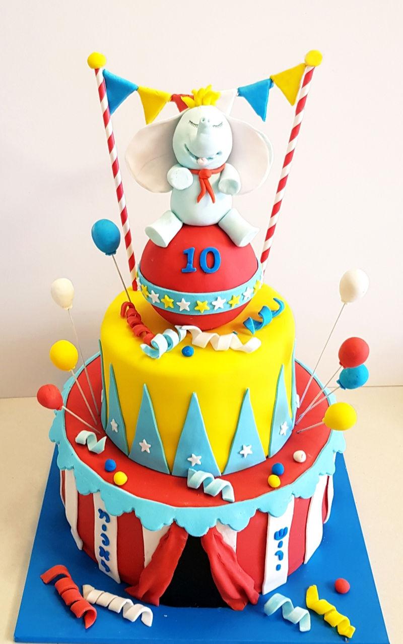 עוגת יום הולדת קרקס מבצק סוכר