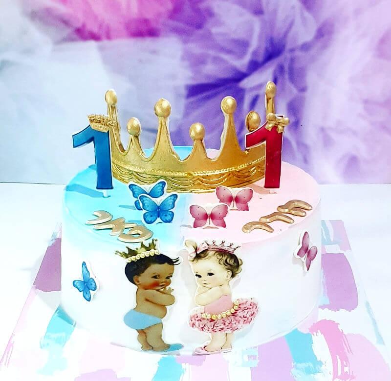 עוגת יום הולדת שנה לתאומים בן ובת